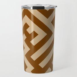 Tan Brown and Chocolate Brown Diagonal Labyrinth Travel Mug