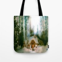 the hobbit Tote Bags featuring HOBBIT HOUSE by FOXART  - JAY PATRICK FOX