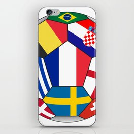Football ball with various flags - semifinal and final iPhone Skin