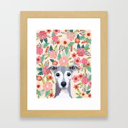 Italian Greyhound floral pet portrait wall art and gifts for dog breed lovers Framed Art Print