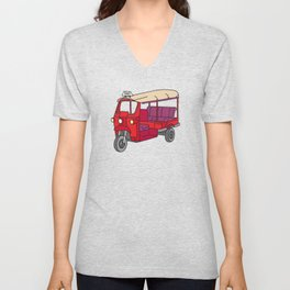 Red tuktuk / autorickshaw Unisex V-Neck