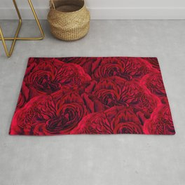 Rouge Garden - Red Roses and Peonies Pattern Rug