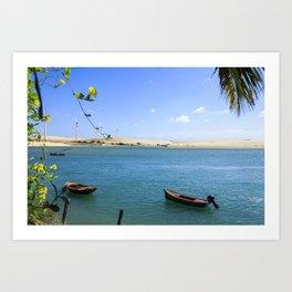 River and beach meeting on Brazil Art Print