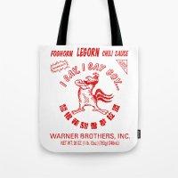 sriracha Tote Bags featuring Foghorn Leghorn Sauce (Red) by Huemanitee