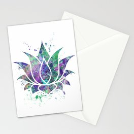 Lotus Flower Art Colorful Pastel Watercolor Gift Egyptian Flower Lotus Blossom Flowers Art Gift Stationery Cards