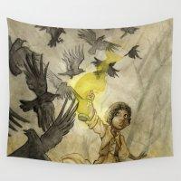 jojo Wall Tapestries featuring Field of Crows by JoJo Seames