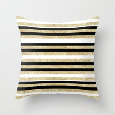 Gold Glitter and Black Stripes Throw Pillow