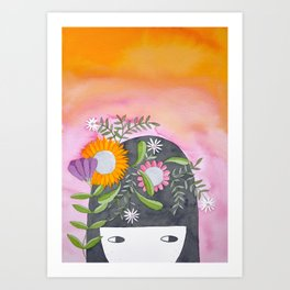 Spring girl botanical watercolor illustration in pink & orange Art Print