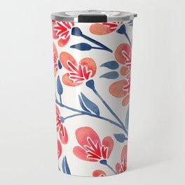 Cherry Blossoms – Melon & Navy Palette Travel Mug
