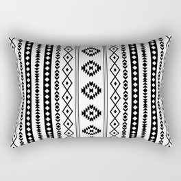 Aztec Black on White Mixed Motifs Pattern Rectangular Pillow