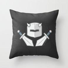 Exile From Ullathorpe - Helmet and Swords Dark Throw Pillow