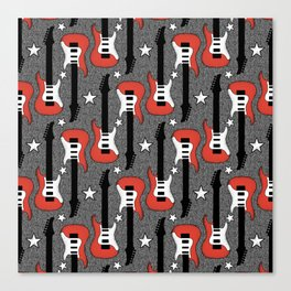 Rock and Roll_ Red and White Guitar Canvas Print
