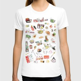 Watercolor Hand Draw Japanese Foods Collection T-shirt