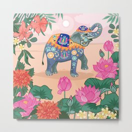 Elephant and Lotus Flowers Metal Print