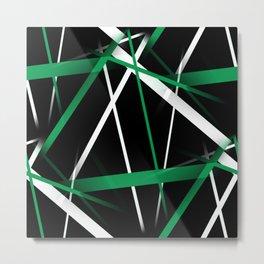Seamless Aqua Green and White Stripes on A Black Background Metal Print