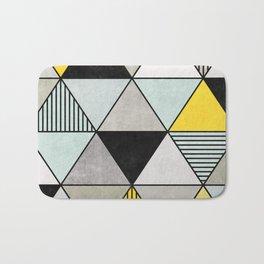 Colorful Concrete Triangles 2 - Yellow, Blue, Grey Bath Mat