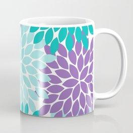 Mermaid Purple Turquoise Aqua Floral Pattern Flower Burst Petals Coffee Mug