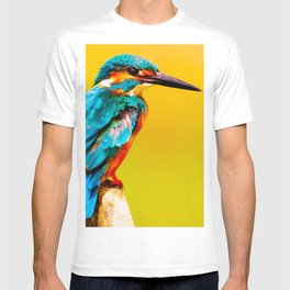 Close-up of Common Kingfisher (Alcedo atthis) perching on a branch. Also known as the Eurasian or River Kingfisher - Bird Art - Amazing Oil Painting  T-shirt