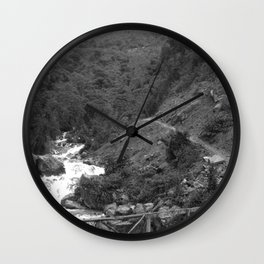 Alpine Bridge Adventure B&W Wall Clock