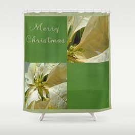 Pale Yellow Poinsettia 1 Merry Christmas Q5F1 Shower Curtain