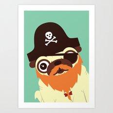 Pug in a crew Art Print