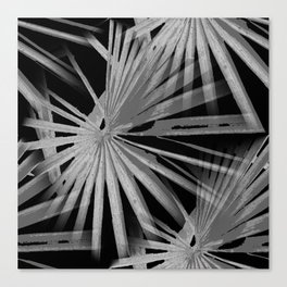 Gray Grey On Black Tropical Vibes Beach Palmtree Vector Canvas Print