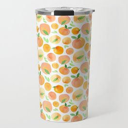 Watercolor Peaches Pattern Travel Mug
