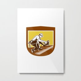 Roofer Roofing Worker Crest Shield Retro Metal Print