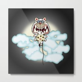 Funny Scared White Cat Balloon With Glasses Metal Print