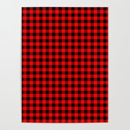 Mini Red and Black Coutry Buffalo Plaid Check Poster