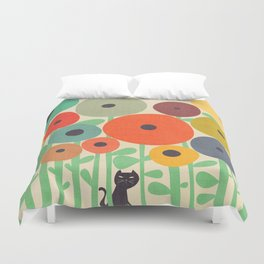 Cat in flower garden Duvet Cover