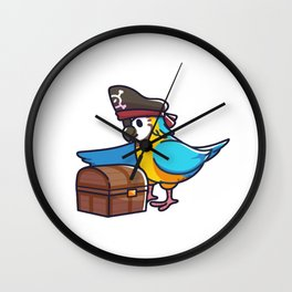 Parrot pirate captain treasure box children gift Wall Clock