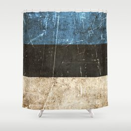 Vintage Aged and Scratched Estonian Flag Shower Curtain