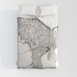 Tampa White Map Comforters