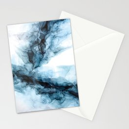 Blue Ice Phoenix Abstract Flow Painting Stationery Cards