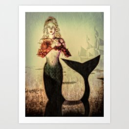 The Lonely Mermaid Art Print