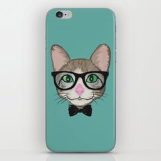 Colorful Cat Hipster with Bow Tie iPhone & iPod Skin