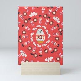 Floral circle with a little bear Mini Art Print