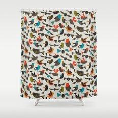 just birds china white Shower Curtain