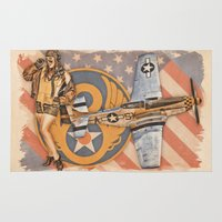 aviation Area & Throw Rugs featuring Aviation Pinups - P-51 Mustang by Vintage Pinups