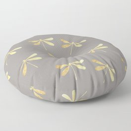 dragonfly pattern: gold & grey Floor Pillow