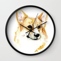 corgi Wall Clocks featuring Corgi by Elise Lesueur