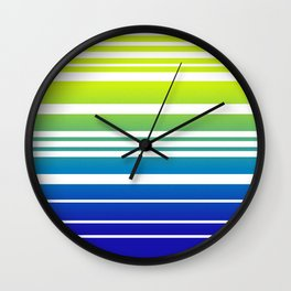 Bay Ombre Stripe: Lime and Blue Wall Clock