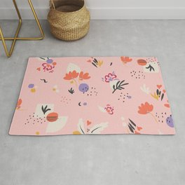 Abstract modern floral pink Rug