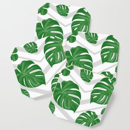 Monstera on chevrons Coaster