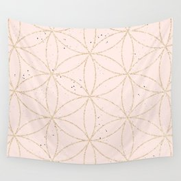 peach speckled with rose gold geometry pattern Wall Tapestry