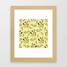 Rose Hummingbirds and Pink Flowers in Butter Yellow Floral Pattern with Pink Flowers and Bark Brown Framed Art Print