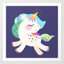 Cute unicorn with colorful mane and tail Art Print