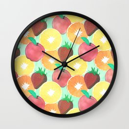 Stylish Colorful Summer Fruits Design Wall Clock