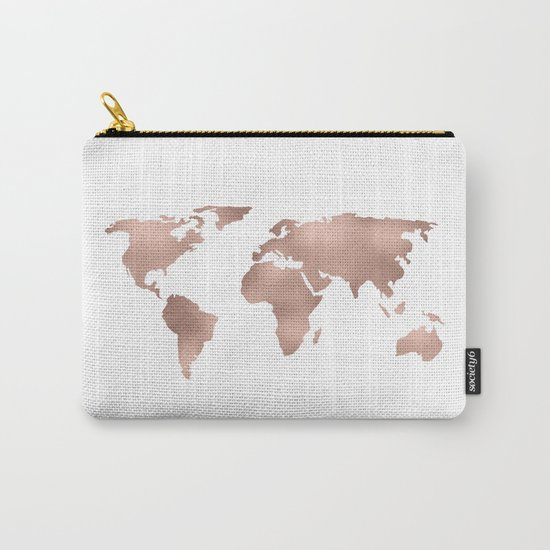 World Map Rose Gold Shimmer Carry-All Pouch